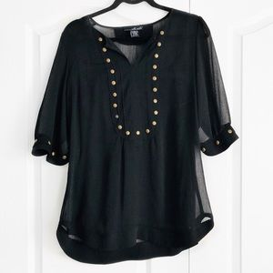 Willi Smith Black Sheer Blouse with Gold Details